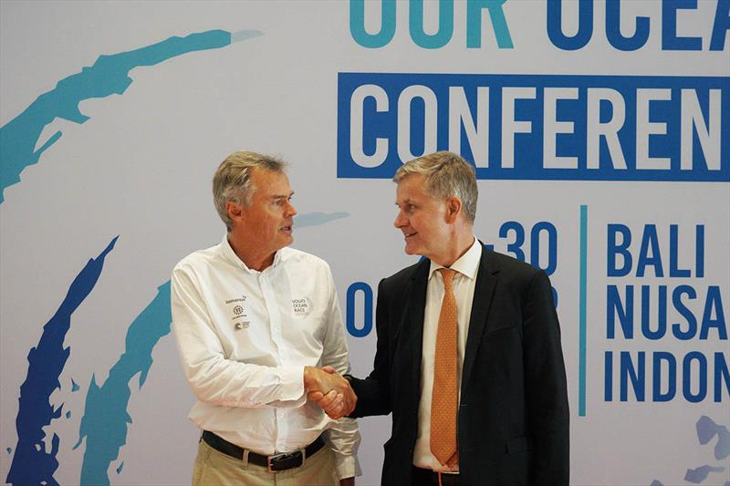 Johan Salén (L) and Erik Solheim at the Our Ocean Conference in Bali, where an MoU between The Ocean Race and UN Environment was signed - photo © Damian Foxall