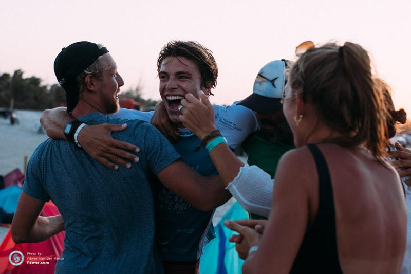 Day 1 - Camille Delannoy with family and friends yesterday. Yes, he's pretty pleased with how it's going, making the single elimination final which will take place later today! - 2018 GKA Kite-Surf World Tour Prea, Round 6 - photo © Ydwer van der Heide