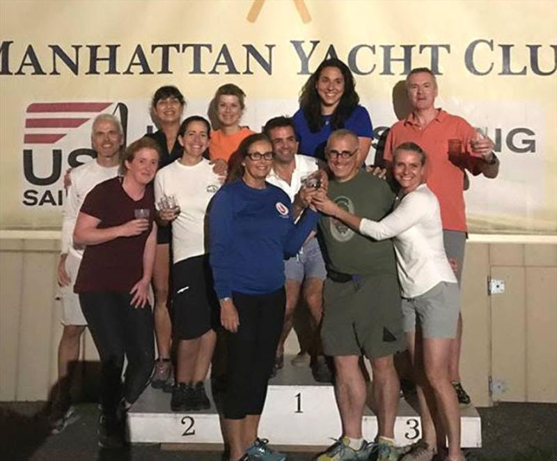 (L to R): Joe Just, Katherine Whitby, Danielle Gallo, Nadine Stephens, Jen Taylor, Katie Morgan, Robert Arone, Andera Sengara, Guest, Dan Crabbe and Linda Kaiser - J/24 Racing at Manhattan Yacht Club - photo © Manhattan Yacht Club