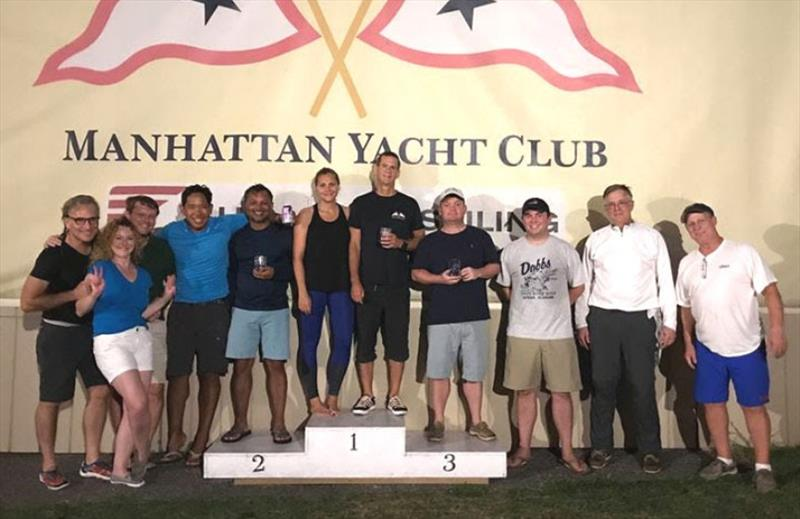 Everyone loves to stand on the winner's podium. (L to R): Steve Rawlings, Tatiana Volkova, Paul Wilson, Alex Mallari, Ed Rambali, Sara Wiss, Michael Barry, Eric Hoyle, Geoff Bernard, Erik van Nispen, and Rick Kern - J/24 Racing at Manhattan Yacht Club - photo © Manhattan Yacht Club