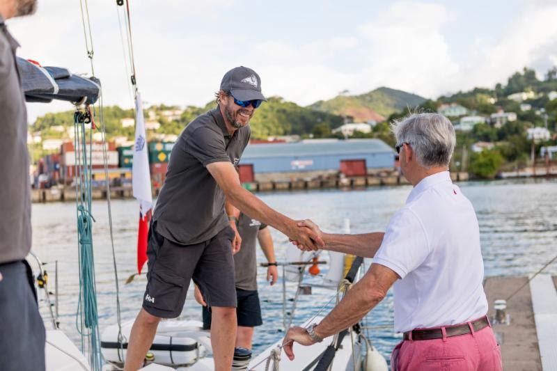 Eddie Warden Owen, RORC CEO congratulates Trevor Middleton, Black Sheep - 2018 RORC Transatlantic Race - photo © RORC / Arthur Daniel