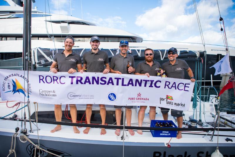 Second overall after IRC time correction for the smallest boat in the competition: Trevor Middleton's Sun Fast 3600 Black Sheep.  Team Black Sheep: Joe Simmons, Matthew Morton, Trevor Middleton, Jacob Carter, Paul Hardy - 2018 RORC Transatlantic Race - photo © RORC / Arthur Daniel