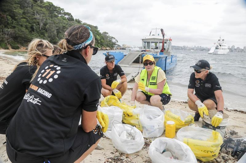 Ocean Respect Racing team members learn from Terrie-Ann Johnson, Managing Director and CEO of Clean Up Australia about the different types of trash commonly found in Sydney Harbor.  - photo © Salty Dingo / Ocean Respect Racing
