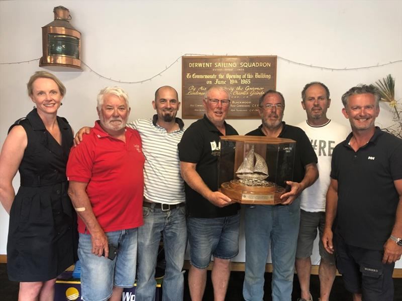 Winning crew of Lawless with their King of the Derwent - photo © Sarah Courtney MP