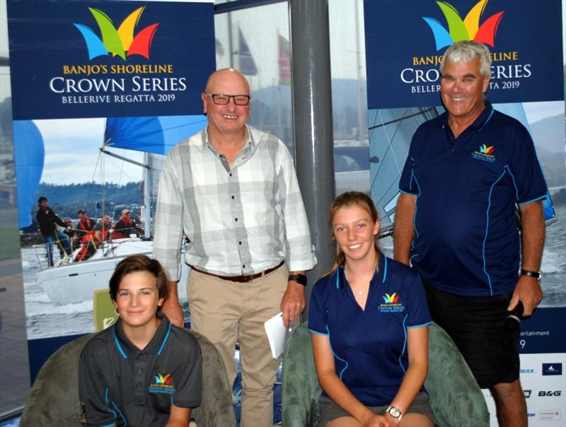 Bellerive Yacht Club personality Hughie Lewis (centre) with Hugo Allison,  Lucy Rees and Jeff Cordell at today's launch of the Crown Series Bellerive Regatta photo copyright Peter Campbell taken at Bellerive Yacht Club