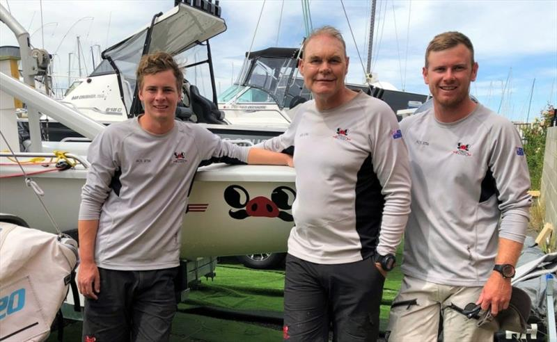 Tasmanian SB20 champion crew, from left, Elliott Noye (helm),  Paul McCartney, owner (main) and Edward Snowball (bow). - photo © Jane Austin