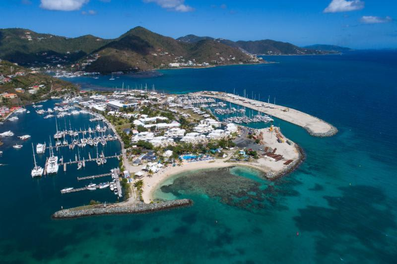 Aerial view of Nanny Cay - ready to host the 48th BVI Spring Regatta & Sailing Festival - photo © Alastair Abrehart