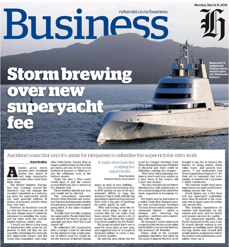 NZ Herald - march 11, 2019 on Superyacht anchoring fee - photo © NZ Herald