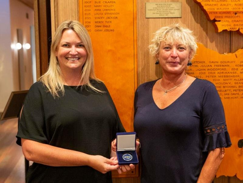 Wendy Tuck (right) receiving CYCA Honorary Membership from Rear Commodore Janey Treleaven earlier in the year - photo © Cruising Yacht Club of Australia