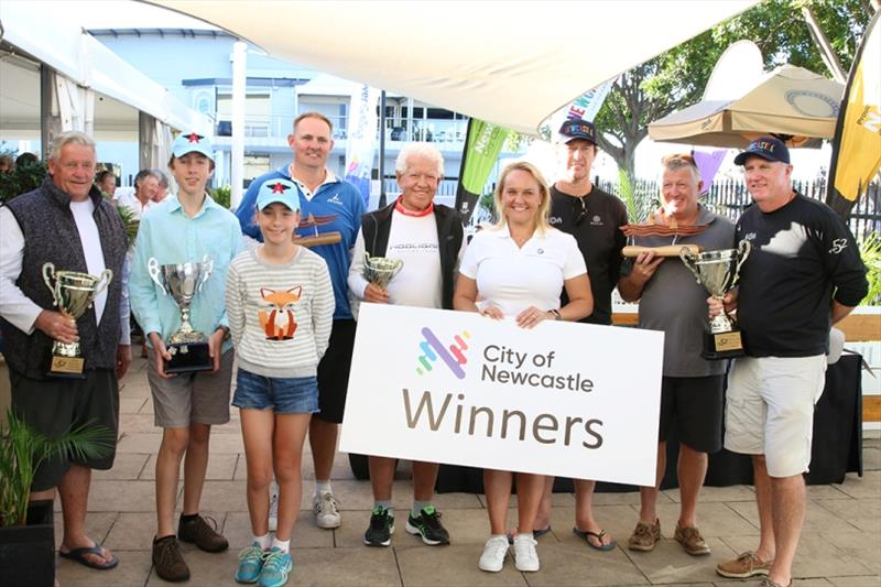 Sailfest winners with Lord Mayor Nuatali Nelmes - 2019 SailFest Newcastle, Day 3 photo copyright Mark Rothfield taken at Newcastle Cruising Yacht Club
