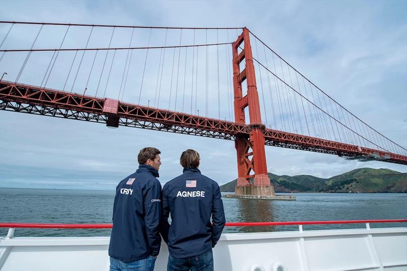Rome Kirby and Mac Agnese looking out over San Francisco Bay, where they will be racing May 4-5.  - photo © SailGP
