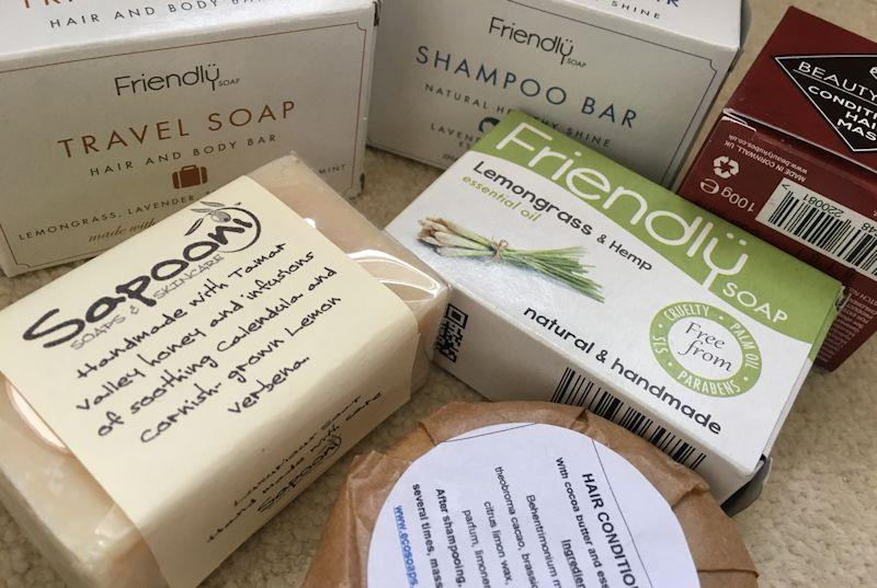 A simple switch to soap can save a huge amount of plastic, and there are specific soaps for hair, face, body, shaving etc - photo © Gael Pawson