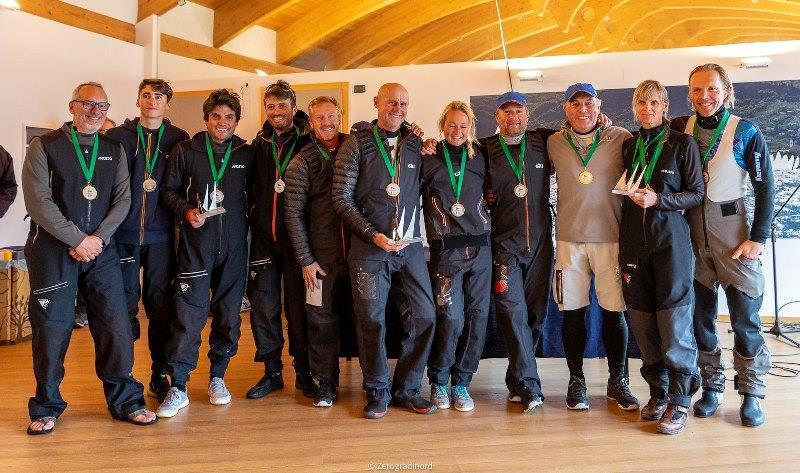 The podium of the Corinthian division - Miles Quinton's Gill Race Team GBR694 with Geoff Carveth at the helm, Marco Zammarchi's Taki 4 ITA778 with Niccolo Bertola helming and Lenny EST790 by Tõnu Tõniste - 2019 Melges 24 European Sailing Series - photo © IM24CA / Zerogradinord