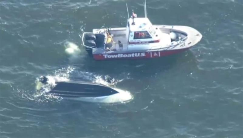 Rescue of nine people in Buzzards Bay photo copyright Photo from New England Cable News report taken at