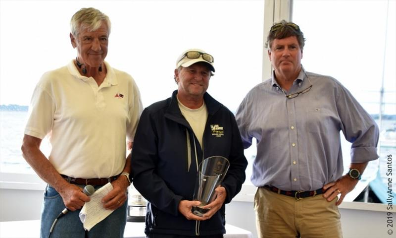 Brad Read (middle), tactician for New Zealand (KZ-3) accepts the first-place trophy for Grand Prix Division - Newport Trophy Regatta 2019 - photo © SallyAnne Santos