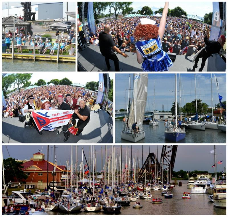 Top row: fans on shore, Awards Party; Middle: class winner on stage, parade to the start; Bottom: Boat Night on the Black River - Bell's Beer Bayview Mackinac Race 2019 - photo © Martin Chumiecki / Bayview Yacht Club
