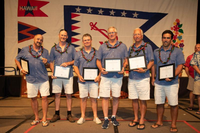 Roy Disney (left) and his crew from Pyewacket receiving the Arthur B. Hanson Award - Transpac 50 - photo © Sharon Green / Ultimate Sailing