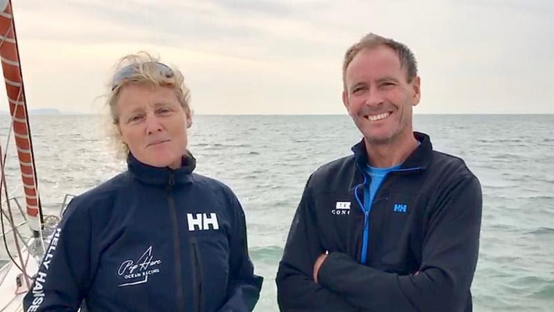 Pip Hare and Paul Larsen racing doublehanded on British IMOCA 60 Pip Hare Racing - 2019 Rolex Fastnet Race - photo © Pip Hare Racing