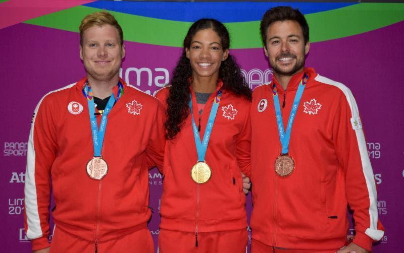 Alexander Heinzemann, Sarah Douglas, Justin Barnes - 2019 Pan Am Games - photo © Sail Canada