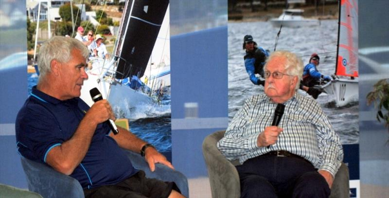 Jeff Cordell (left) talks about AMS scoring in an interview with yachting journalist Peter Campbell. - photo © Peter Watson