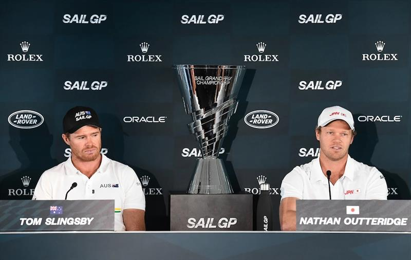 Tom Slingsby and Nathan Outteridge with the SailGP Championship trophy. - photo © SailGP