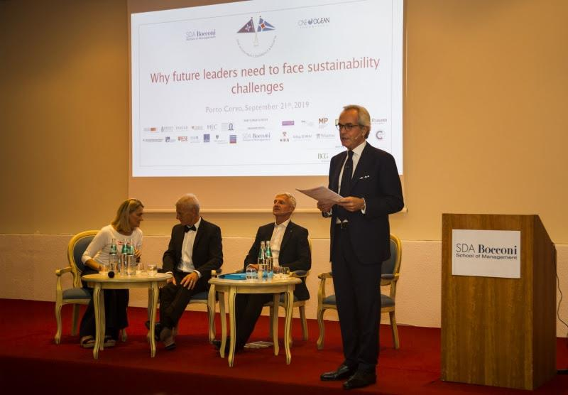 At the Conference from the left: Maria Cristina Finucci, Paul Rose, Andrea Illy and the moderator Prof. Maurizio Dallocchio, One Ocean MBA's Conference & Regatta 2019. - photo © YCCS / SDA Bocconi