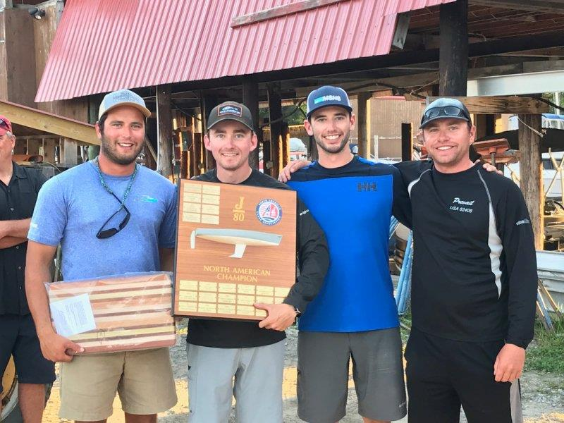 From left to right, the youthful team of Matt Coughlin (tactician), Henry Tomlinson (bow), George Luber (trimmer), and Cam Tougas (helm), won the 2019 J/80 North American Championship aboard AEGIR #487 on Lake Winnipesaukee September 22, 2019. - photo © www.j80na.com