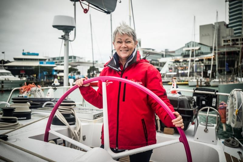 Tracy Edwards aboard  Maiden at the start of the yacht's current world tour with an all-female crew. - photo © Amalia Infante / The Maiden Factor