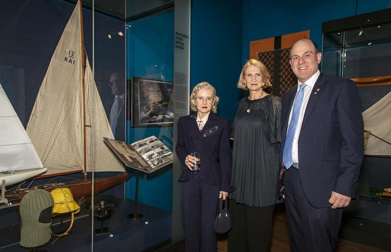 Nina Halvorsen representing the famous family, with ANMM Senior Curator, Daina Fletcher, and outgoing AS President, Matt Allen. - photo © ANMM