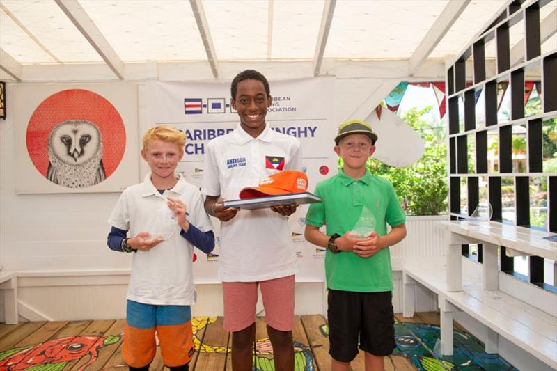 Optimist winner Ozani Lafond with 2nd placed Patrick Greensmith and 3rd placed - 2019 Caribbean Dinghy Championships photo copyright Ted Martin / Antigua Photography taken at Antigua Yacht Club