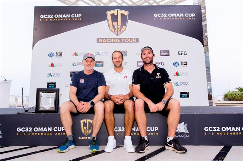 The trio of winning skippers (from left to right) Red Bull Sailing Team's Roman Hagara, Alinghi's Arnaud Psarofaghis and Oman Air's Adam Minoprio - GC32 Oman Cup day 4 - photo © Sailing Energy / GC32 Racing Tour