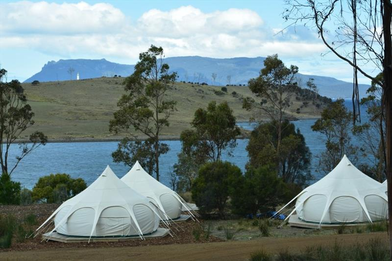 Tasmania's Maria Island National Park and Spring Bay Mill glamping tents - photo © Jane Austin