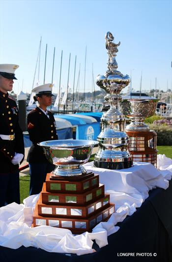 Three of the most prestigious match racing trophies in the world; the Governor's Cup, Congressional Cup, and America's Cup at the 50th Anniversary Governor's Cup in 2016. Two of the three have been cancelled for this year. © Mary Longpre