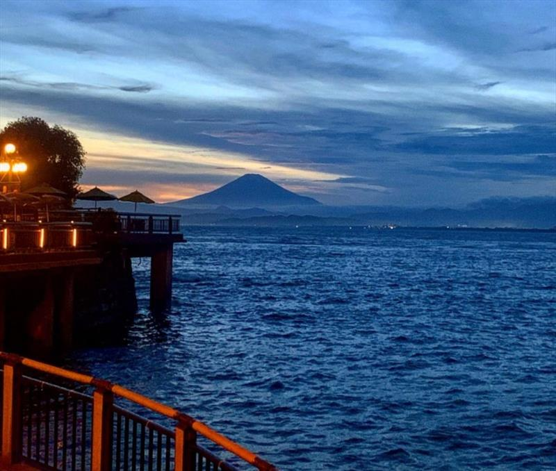 Mount Fuji rises in the distance. In the foreground is the 2020 Summer Olympics sailing venue in Enoshima, Japan - photo © Perfect Vision Sailing
