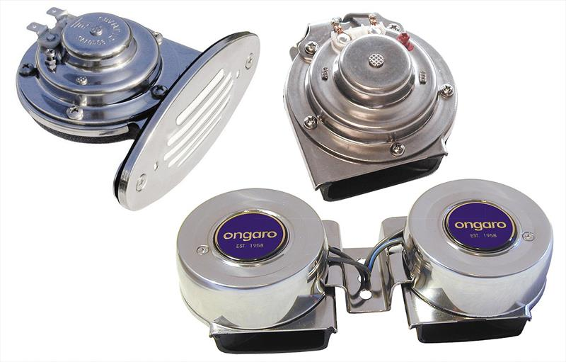 Ongaro Mini Dual Drop-In Horn With Stainless Steel Grill  Horn 12V Low Pitch