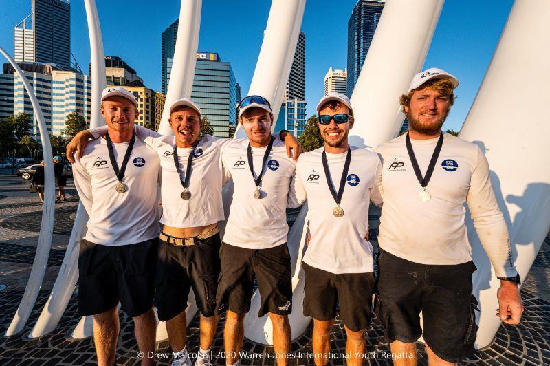 Second place - (left to right) Nick Egnot-Johnson (skipper), Zak Merton, Bradley McLaughlin, Sam Barnett and Tim Snedden - photo © Drew Malcolm