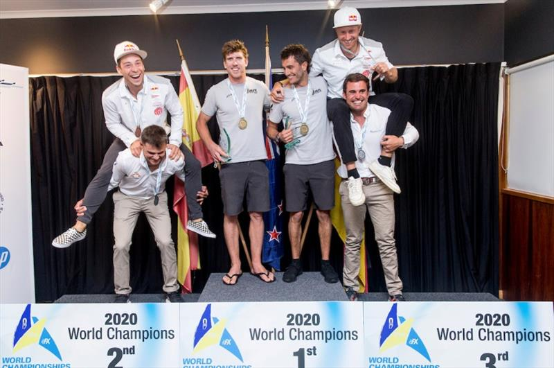 49er gold, silver and bronze medallists having some fun at the trophy presentation at Royal Geelong Yacht Club photo copyright Pedro Martinez / Sailing Energy taken at Royal Geelong Yacht Club