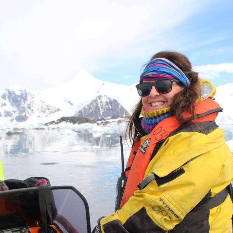 Sarah Reed skippering a dive Rib at Rothera in the Antarctic - photo © RYA