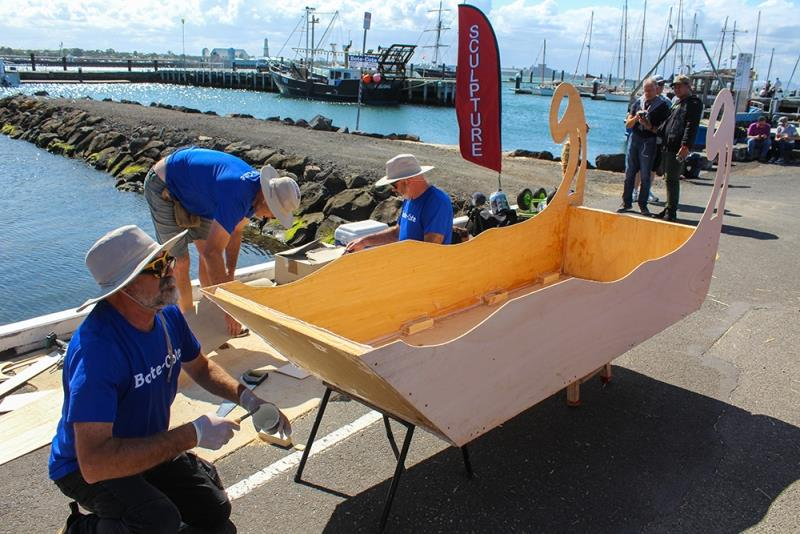Geelong Sculptors with their artistic boat design. - photo © Sarah Pettiford