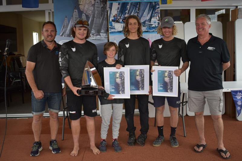 Incoming SB20 Australia President Scott Glanville with Taz Racing Team Will Sargent, Harry Gregory, Ed Reid, Jacob McConaghy and outgoing President Stephen Catchpool - Spring Bay Mill SB20 Australian Championship 2020, final day - photo © Jane Austin