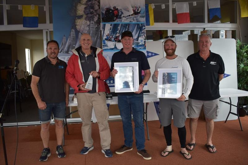 Master's division winners Nick Rogers, Simon Burrows and Will Keyes - Spring Bay Mill SB20 Australian Championship 2020, final day - photo © Jane Austin