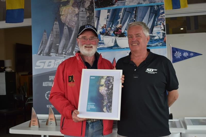 Spring Bay Boat Club Commodore John Hall with outgoing SB20 Australia President Stephen Catchpool - Spring Bay Mill SB20 Australian Championship 2020, final day - photo © Jane Austin
