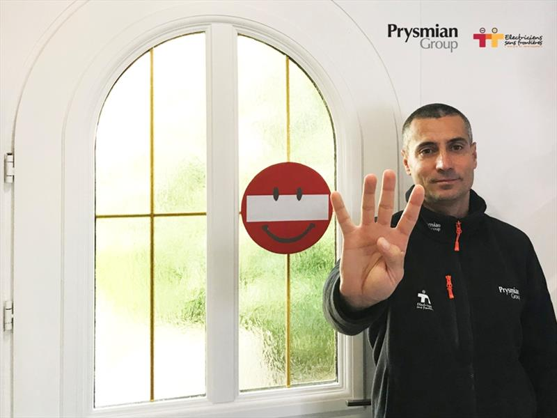 Giancarlo with the no entry sign at the exit of his house - photo © Prysmian