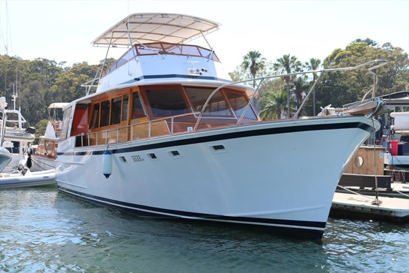 Designed and built by the Halvorsen marque upon craftsmanship philosophy the 48 foot Palmyra is recognised as part of a grand era of Australian boat building. Recently repowered with a pair of Yanmar 6LY440s she maintains her status as a revered dreamboat - photo © Power Equipment Pty Ltd