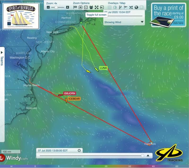 YB trackers show the positions, tracks and wind fields on the North and West legs of the course. This image is from 13 EDT today, 22 hours into the race - Spirit of Bermuda Charity Rally - photo © Sailing Yacht Research Foundation