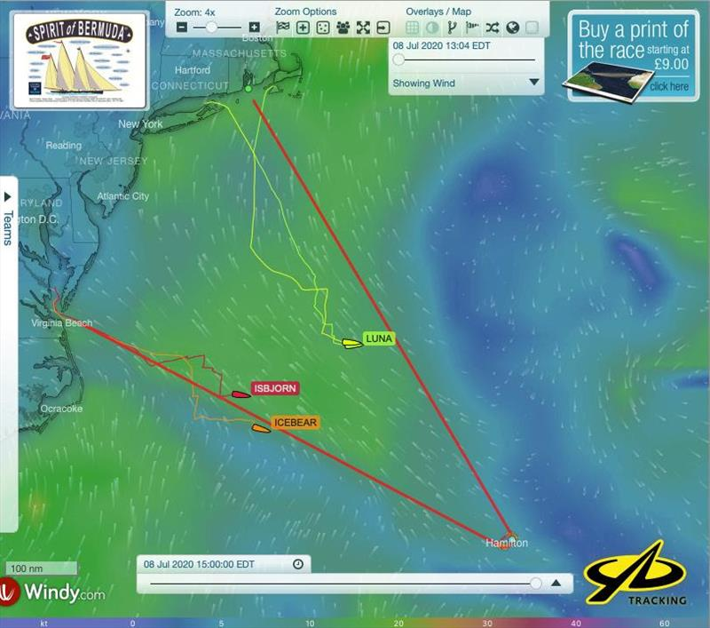 Spirit of Bermuda Charity Rally entries shown on the YB tracking site showing progress made on both legs of the course towards the finish in Bermuda - photo © Sailing Yacht Research Foundation
