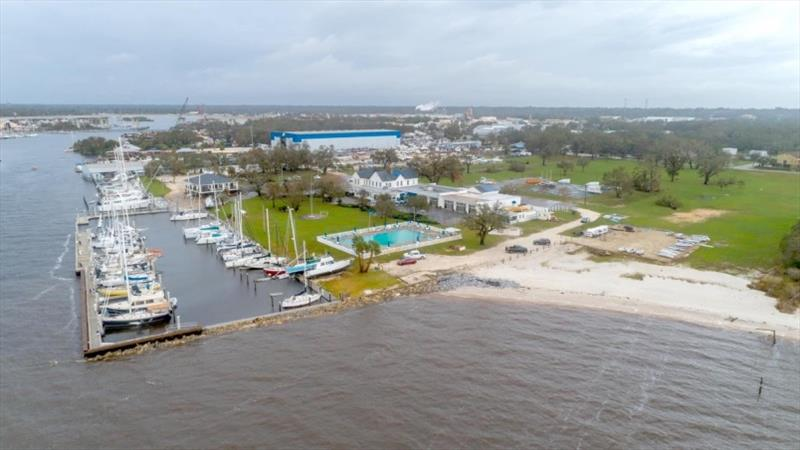 Pensacola Yacht Club marina had extensive damage from Hurricane Sally. 11 vessels were sunk or grounded and must be removed before power can be restored. Repairs will take about three months. photo copyright Tim Ludvigsen / Pensacola Yacht Club taken at Pensacola Yacht Club