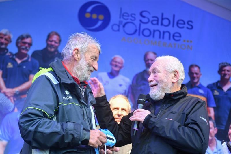 Jean-Luc Van Den Heede (left) being congratulated by Sir Robin Knox-Johnston after winning the 2018/19 Golden Globe Race. - photo © Christophe Favreau / PPL / GGR