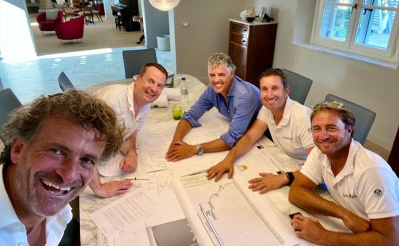 Italian Owner of the Year Roberto Lacorte, seen here with designer Mark Mills and his sailing team led by Alessio Razeto of North Sails - photo © Mills Design Ltd.