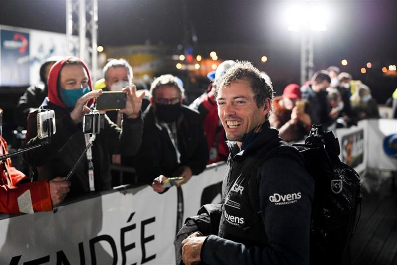LinkedOut, skipper Thomas Ruyant (FRA), is pictured with media during finish of the Vendee Globe sailing race, on January 28, 2021. - photo © Jean-Louis Carli / Alea